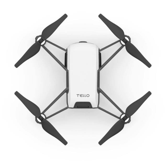 Hvid drone med sorte vinger