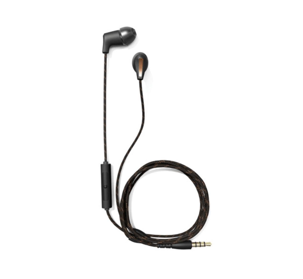 Sort in-ear headset med ledning