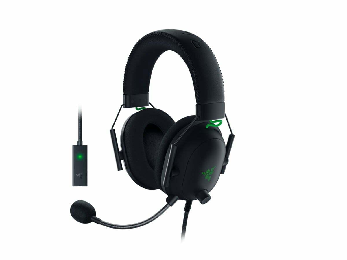 Sort og grønt headset